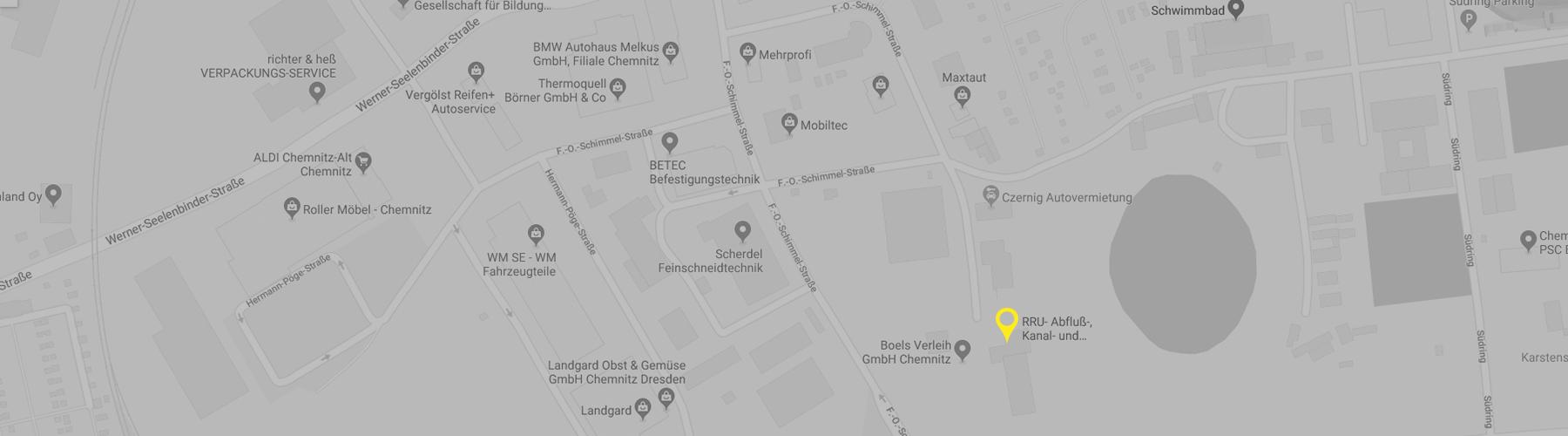 Kartenausschnitt (dunkel) zur Lage der RRU GmbH